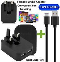 Dual USB Mains Charger Wall Plug Data Cable Type C Compatible For Android Phones