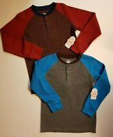 Wonder Nation Boys Thermal Henley *2 Pack* Wine & Flannel Gray Heather S XL NWT