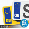 PAIR GB CAR NUMBER PLATE STICKERS - EU European Vinyl Car Sticker Decal