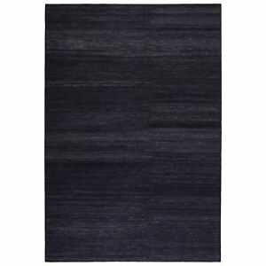 Weconhome Rainbow Kelim Rug 7708 12 by Esprit in Anthracite Cotton Thin Carpets