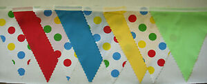 Spotty Fabric Bunting Children in Need Decoration 4mt Red Yellow Turquoise Green