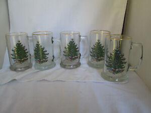 Vintage Christmas Tree With Star Holiday Tall Glass Mugs Gold Trim14 oz Set of 5