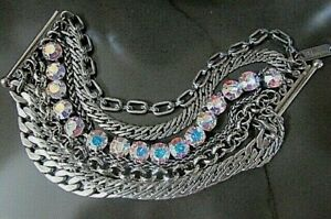 MARIANA 7 strand Swarovski lrg Crystal pewter tone thick chain link bracelet