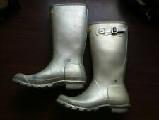 "Hunter Rain Boots YNGORG W23607 US Women 7 SILVER METALLIC 13"" HIGH"