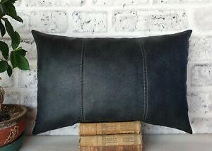 Anthracite gray three-piece model faux leather  lumbar pillow cover -1qty