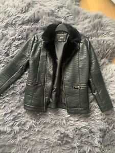 River Island Boys Coat Jacket Junior Fur Age 11 Biker Jacket Faux Leather