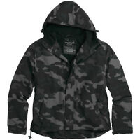 SURPLUS MENS WINDBREAKER HOODED JACKET with FLEECE LINING BLACK CAMOUFLAGE S-XXL