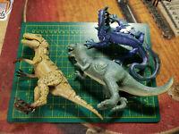 Lot of 3 Plastic Rubber Dinosaurs Tyrannosaurus Allosaurus Fantasy Blue Dragon