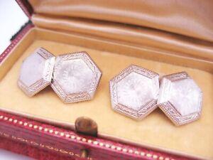 Antique Art Deco era 14K Gold & Platinum Guilloche Engrave Cufflinks Buttons