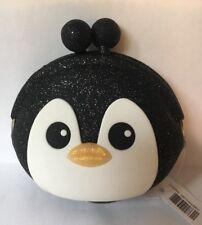 Bath And Body Works Rubber Glitter Black Penguin Change Purse Holder Wallet