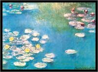 Claude Monet Ninfee Poster Kunstdruck Bild mit Alu Rahmen in schwarz 60x80cm