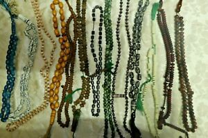 Lot of 12 MIX Misbaha Islamic Prayer Tasbih & 12 Kufi Cap Islamic Hat Skull Mens