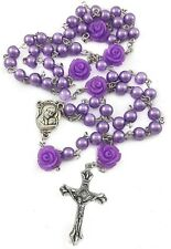 Catholic Pearl Beads Rosary Necklace Purple Beaded Holy Soil Mary Medal & Cross