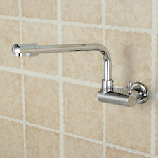 Wall Mount Chrome Laundry Sink Faucet Bathroom Long Swivel Spout Cold Water Tap
