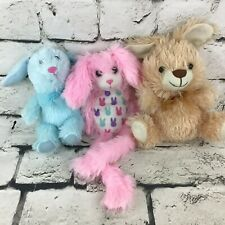 Bunny Rabbit Plush Lot Of 3 Blue Pink Brown Shaggy Easter Spring Gifts Soft Toys