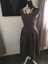 Kleid Cocktail Mint & Berry Gr.40 Schwarz mit Braunen Punkten