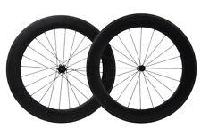 80mm Carbon Wheels Road Bike Wheelset Clincher 700C Matt Race Rim brake straight