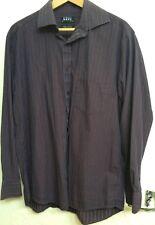 "Thomas Nash Debenhams Shirt 16"" collar Plum White Stripe Long Sleeve Cotton"