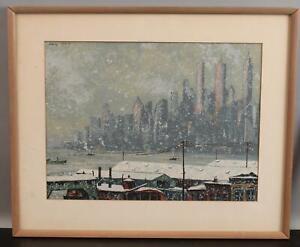 Signed HARRY SHOKLER Serigraph Print New York City Skyline Winter Snow Steamship
