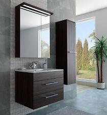Möbel Unterschrank Waschbecken Spiegel Hochschrank Dunkelbraun LED Braun Bad Set