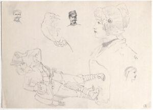 Original 1897 Austrian Art Nouveau drawing, multiple sketches