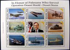 1991 MNH PALAU DESERT STORM WAR STAMPS SHEET SHIP HELICOPTER AIRCRAFT STEALTH