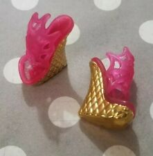MONSTER HIGH DOLL SHOES 13 WISHES DRACULAURA PINK & GOLD HEELS WEDGES SPIDER WEB