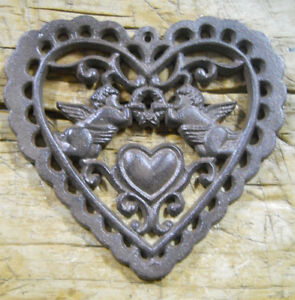 Cast Iron Victorian Style HEART Plaque Sign Rustic ANGELS Wall Decor CHERUBS