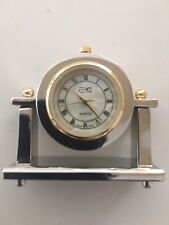 Miniature Brass Quartz Desk Clock-Usa Vendor-Brand New