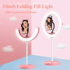 Foldable LED Selfie Ring Light Tripod Stand with Phone Holder for Live Streaming