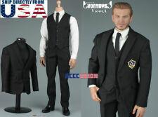 "1/6 Men Business Suit Set BLACK For 12"" Hot Toys PHICEN Male Figure USA SELLER"