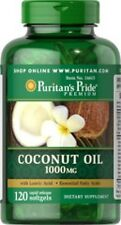 ORGANIC COCONUT OIL 1000mg with LAURIC ACID ESSENTIAL FATTY ACIDS 120 SOFTGELS