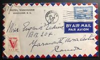 1941 Vancouver Canada Airmail Hotel Cover To Yarmouth Victory Label