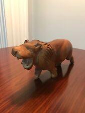 Vintage Mid Century Modern MCM Carved Wood Lion Abstract Art Leo Sculpture Retro