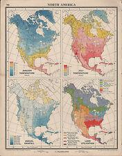 1939 MAP NORTH AMERICA JANUARY JULY TEMPERATURE ANNUAL RAINFALL LAND UTILISATION