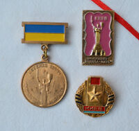 Ukrainian medal Veteran War WW2 Lot 3x Soviet Badge USSR Kiev city hero pins set