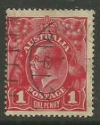 AUSTRALIA KGV KING GEORGE V One Penny Red 1d Single Watermark Used (No 46)