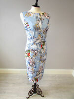 PHASE EIGHT MARA STRETCH COTTON PRINT DRESS - SIZE 14 - FULLY LINED- MULTI