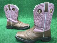 "Lil Durango Girl's Kid's 8"" Western Boot BT387 Tan/Pink Size Youth Sz 5m Cowboy"