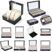 1-12Slots Wrist Watch Display Box Jewelry Bracelet Storage Holder Organizer Box