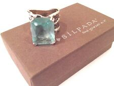 Silpada Sterling Silver Aqua Glass Stunning Artisan Cocktail Ring, Size 7  R1608