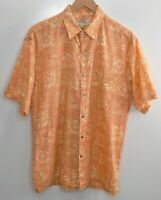 Tori Richard Hawaiian Shirt Size Medium Men's Camp Cotton Lawn Aloha Orange