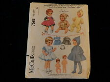 Vintage Doll Clothes PATTERN 7592 for 17 inch Toddler Tiny Tears 1964 Sewing P