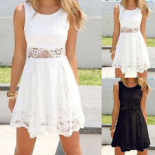 Women Summer Boho White Lace Pelpum Sleeveless Cocktail Evening Beach Mini Dress