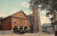 PORTLAND, ME FIRE STATION ENGINE CO 2 MEN & HORSE DRAWN EQUIPMENT used c 1907-14