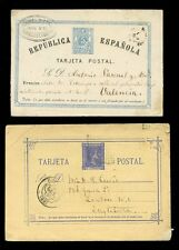 SPAIN 1875-80 STATIONERY 2 CARDS INTERNAL + to GB