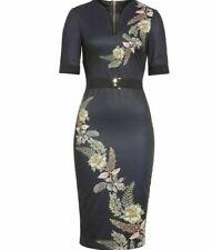 New Ted Baker Black Floral Split Neck Body-Con Midi Dress. Size 3, US Size 8-10