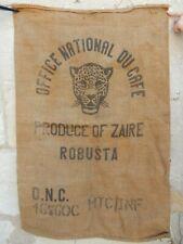 AMAZING 1950S ERA GIANT COFFEE SACK FRAME IT KITCHENAILIA DECOR  LEOPARD ZAIRE