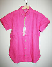 NEW Boys CHATEAU DE SABLE Pink 100% Linen Button Down Short Sleeve Shirt 10 NWT