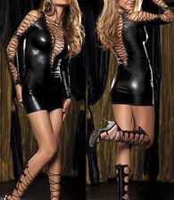 Sexy Women Lingerie Faux Leather Wet Look Bondage Dress G-Strings Set Clubwear